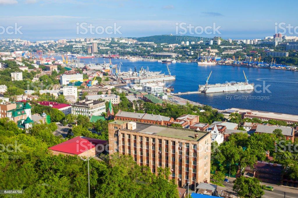 Vladivostok aerial panoramic view stock photo