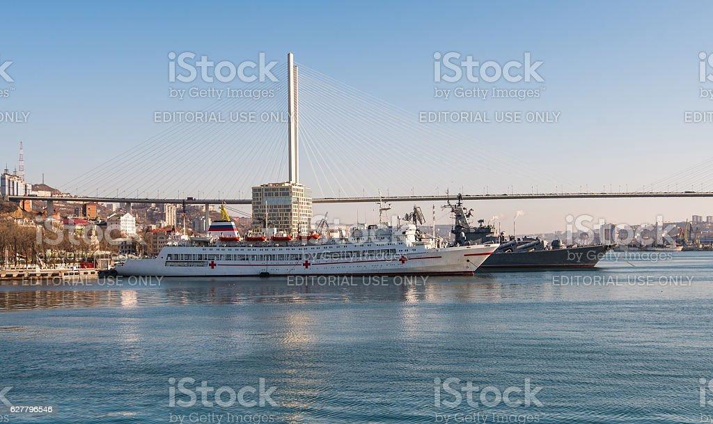 Vladivostok. Bay Golden Horn. stock photo