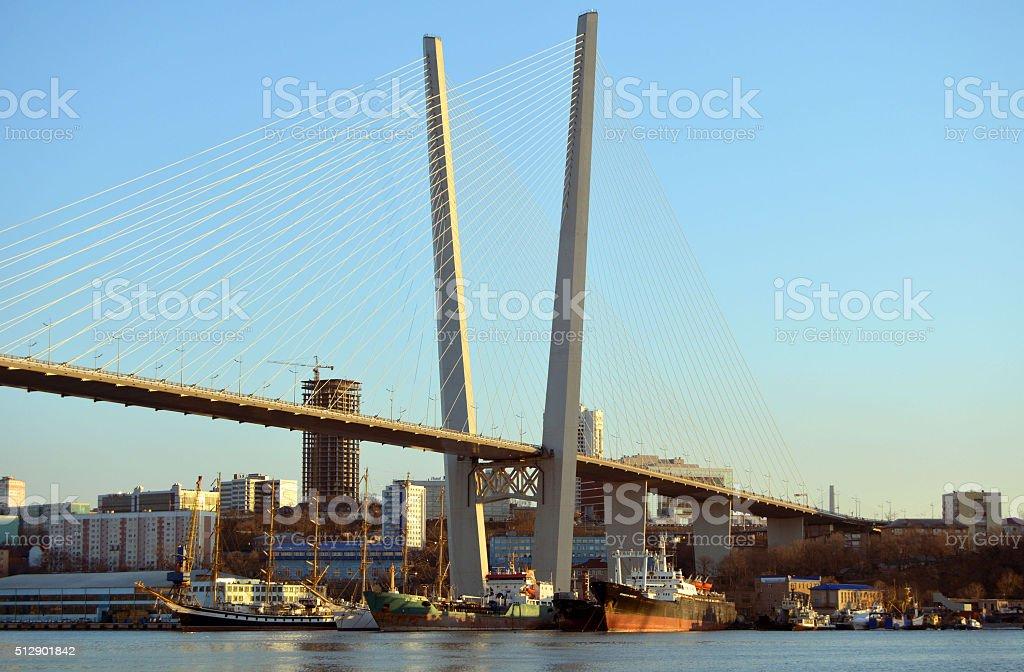 Vladivostok bridge stock photo