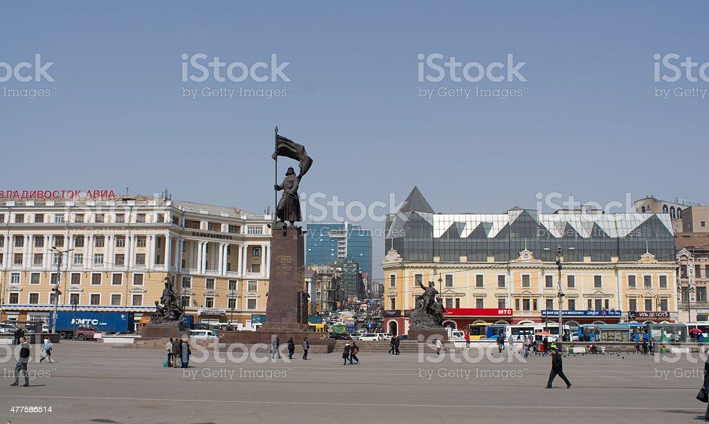 Vladivostok central square stock photo