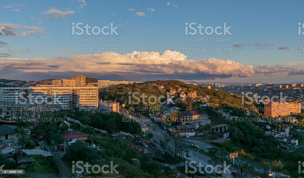 Vladivostok cityscape at sunset. stock photo