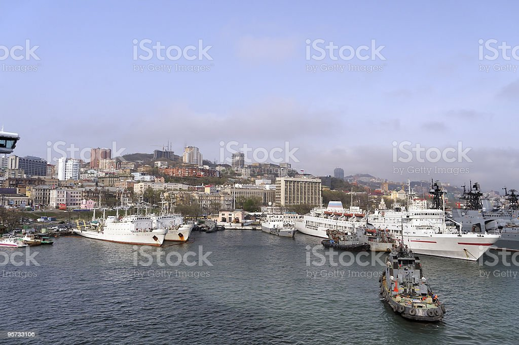 Vladivostok Russian Navy Port stock photo