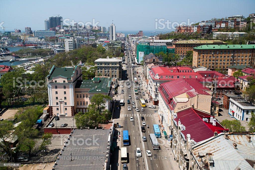 Vladivostok, Svelanskaya Str., top view. stock photo
