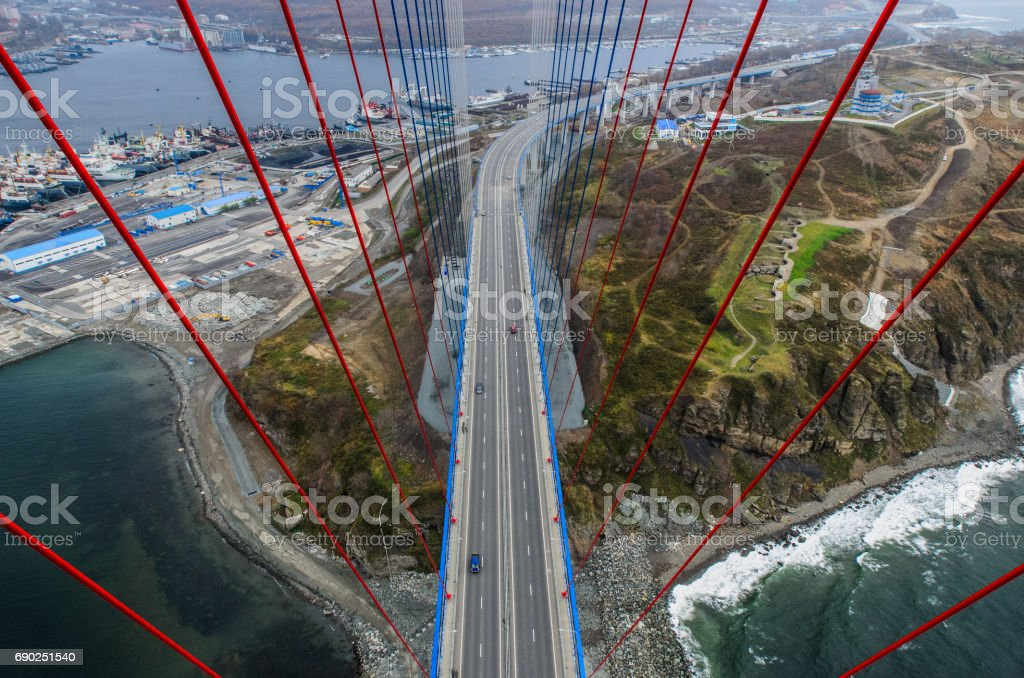 Vladivostok, view from bridge top to Russky Island. stock photo