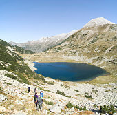 Vlahini Lakes and Vihren peak, the highest in the Pirin National Park, viewed from Muratov peak, Bulgaria, Europe