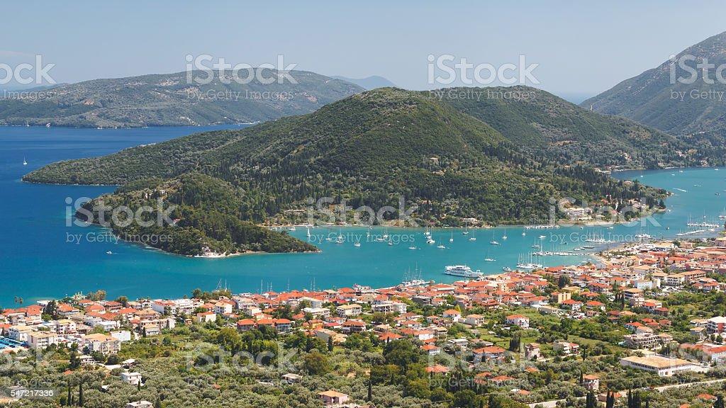 Vlichos village and Nidri, Lefkada island stock photo