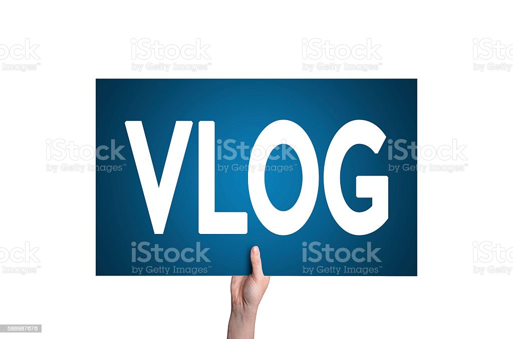 Vlog card isolated on white background. Video blogging concept. stock photo