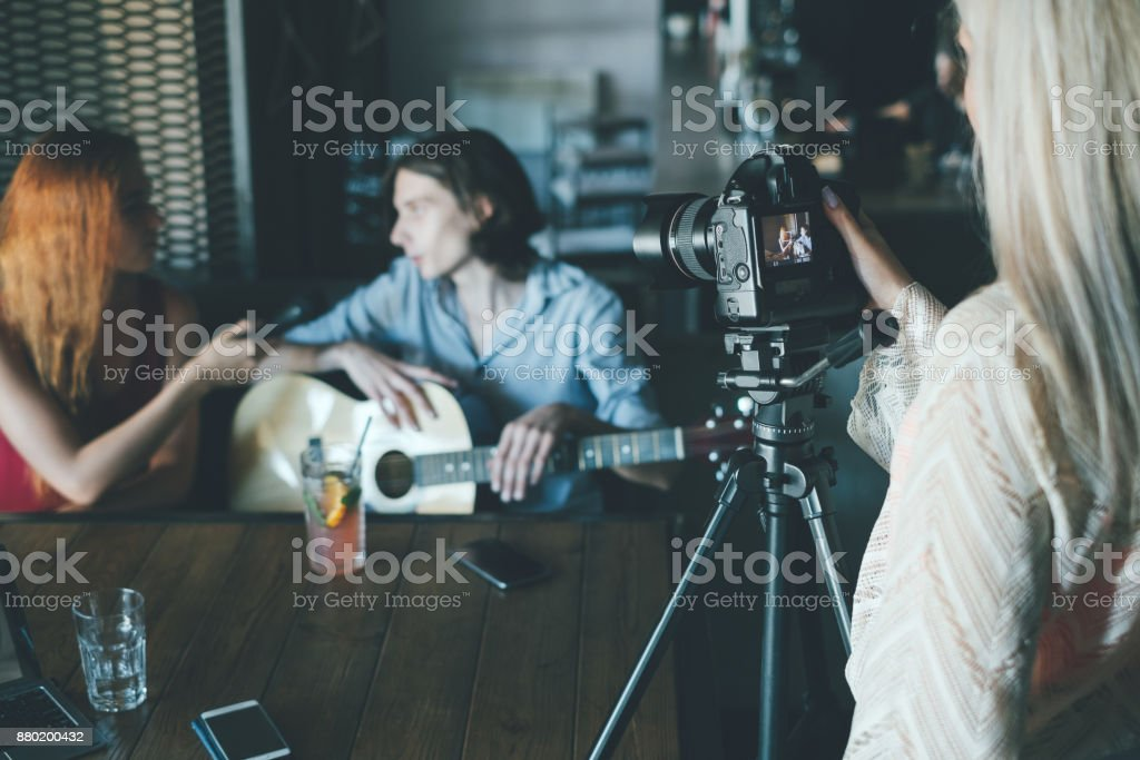 vlog interview filming social lifestyle stock photo