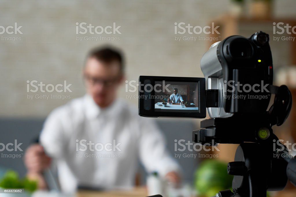 Vlog of chef stock photo