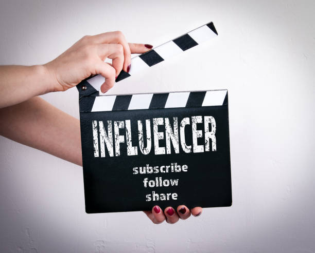 Vlogger and influencer social media marketing concept stock photo