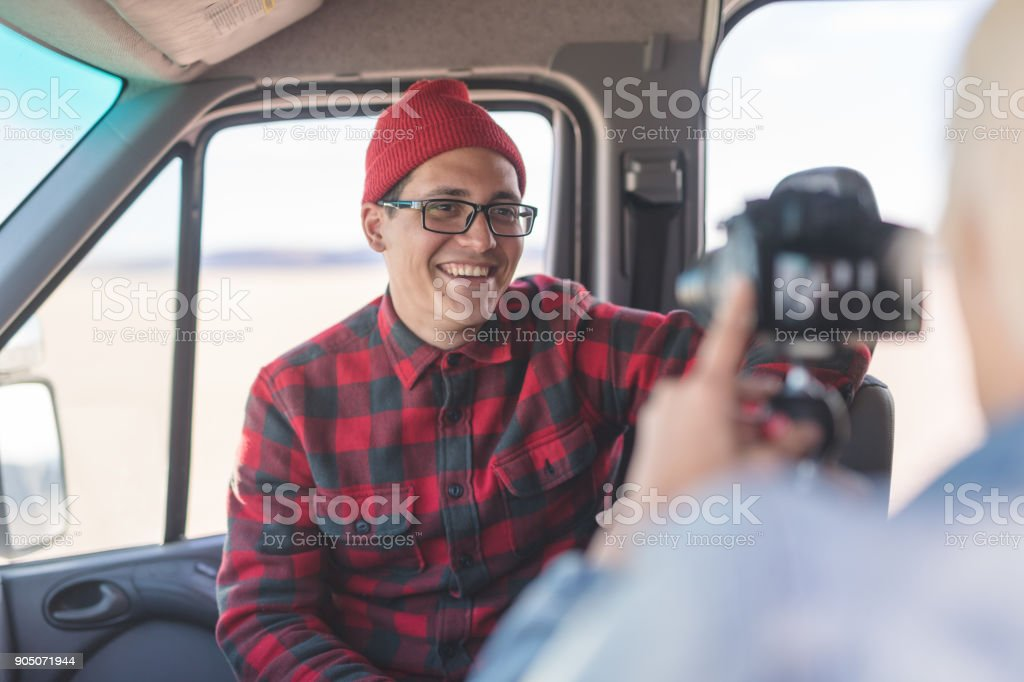 Vlogging in a Van stock photo