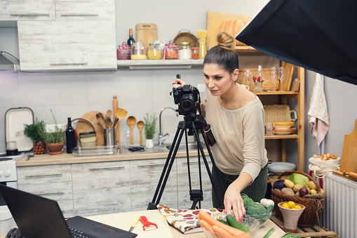 Vlogging In Kitchen Stock Photo - Download Image Now