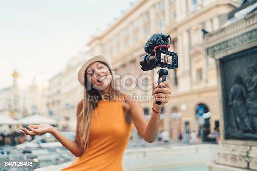 Happy reporter vlogging from Vienna