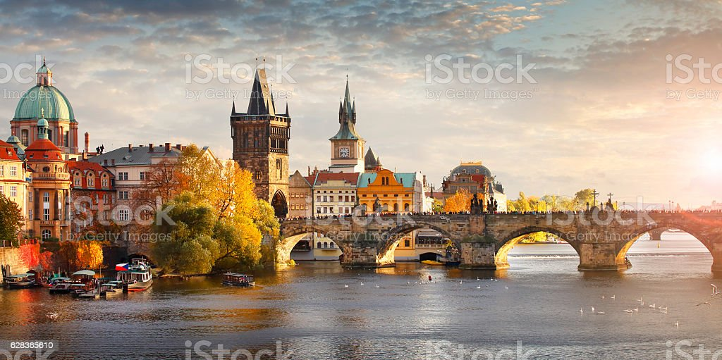 Vltava river and Charles bridge in Prague Panoramic view of Vltava river and Charles bridge in Prague, capital of the Czech republic Architecture Stock Photo