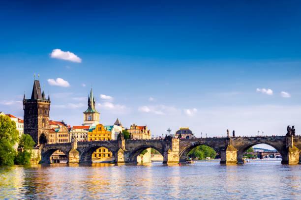 Vltava river and Charles bridge in Prague stock photo