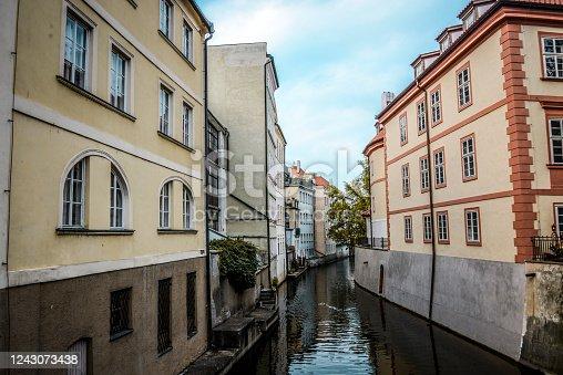 Vltava River Chanel In The Center Of Prague, Czech Republic