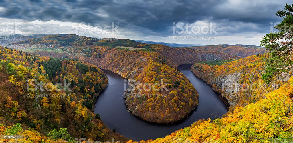 Vltava river horseshoe shape meander from Maj viewpoint, Czech Republic stock photo