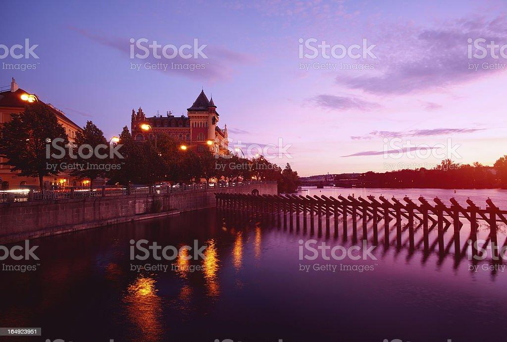 Vltava river in dusk royalty-free stock photo