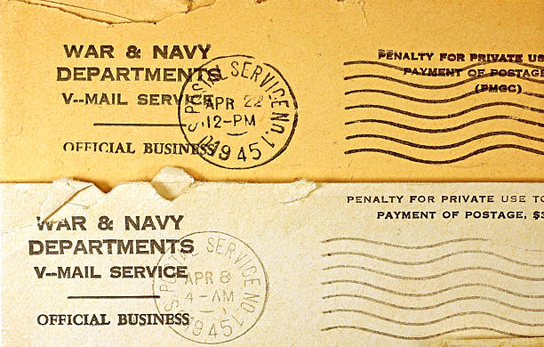 WWII V-Mail Postmarks 1945 stock photo