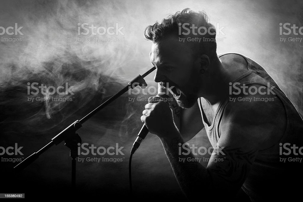Vocalist in Hardrock Concert stock photo