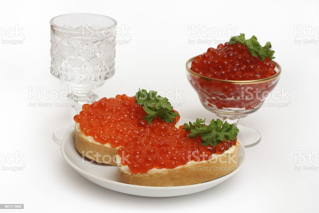 vodka and red caviar royalty-free stock photo