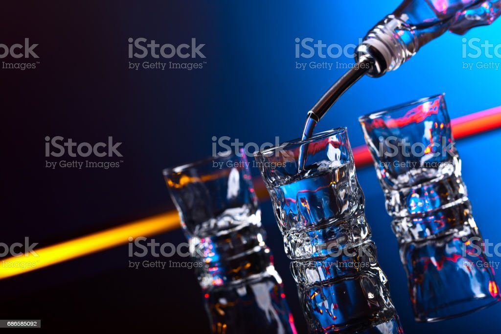vodka in bar on a black  background royalty-free stock photo