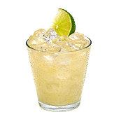 Vodka lemon with ice and lemon slice on white background