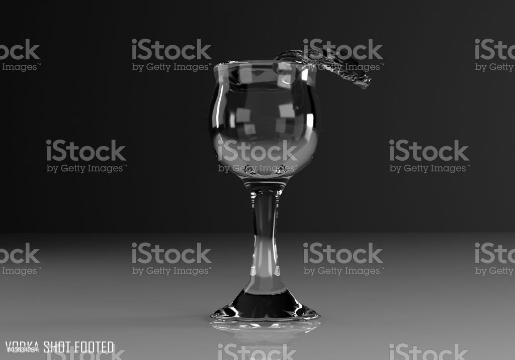 vodka shot footed 3D illustration stock photo