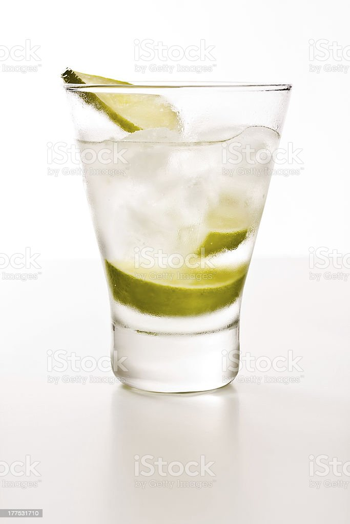Vodka with lime royalty-free stock photo
