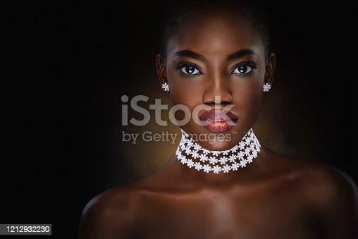 Vogue style close-up portrait of beautiful black woman