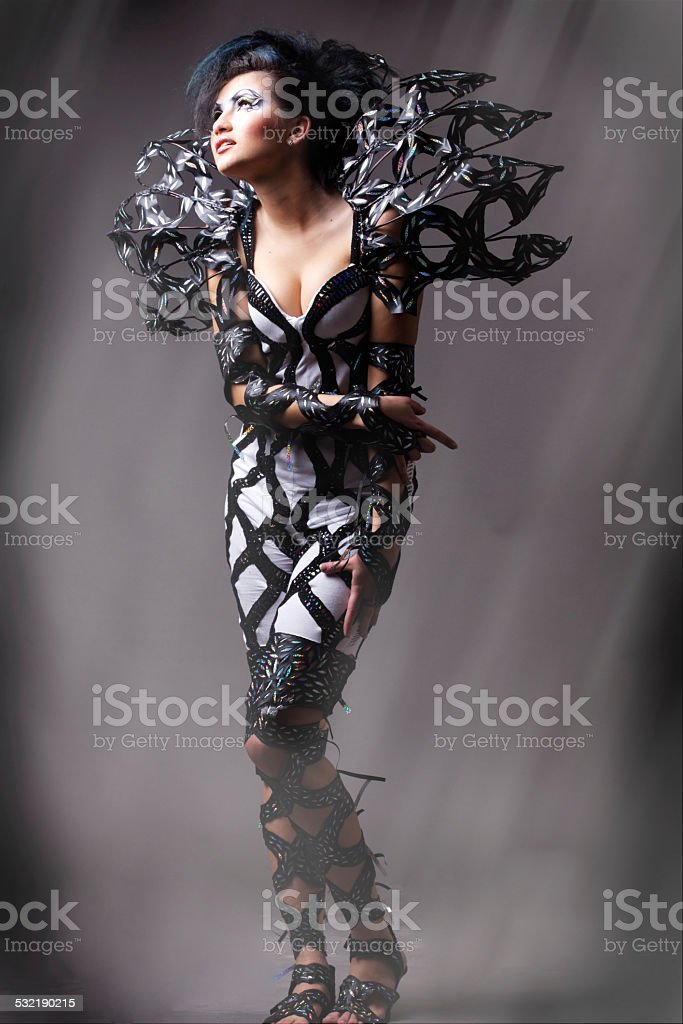 Vogue style dressed woman stock photo