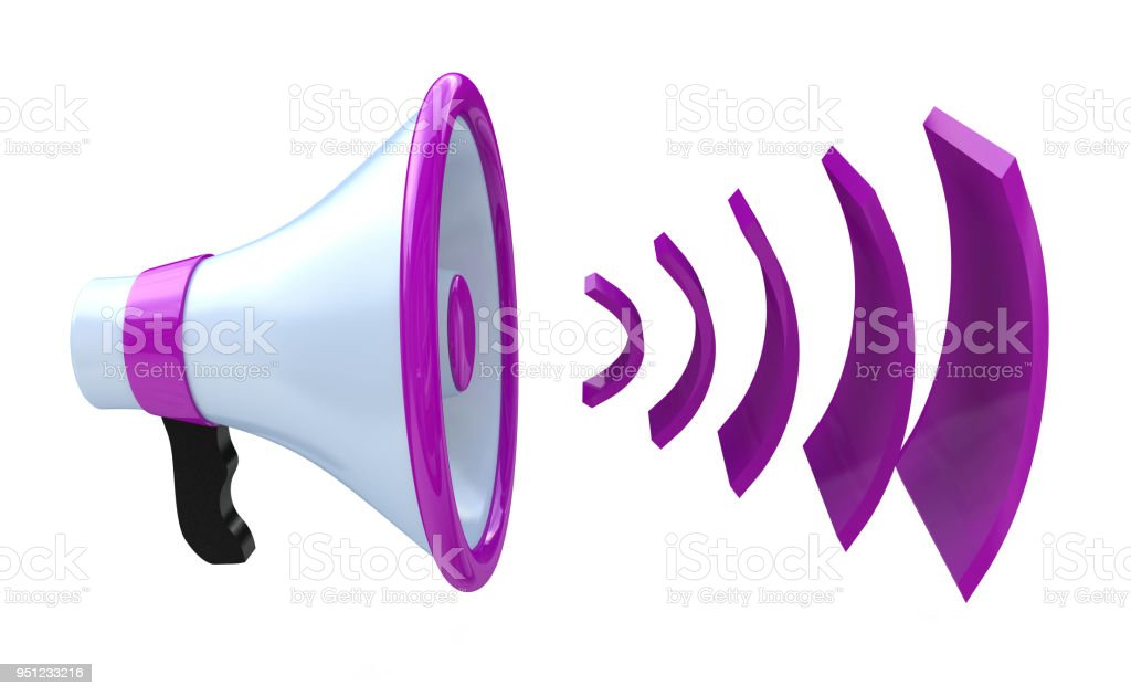 Voice broadcasting. Megaphone or loudspeaker when you make information relating to voice and messages. 3d illustration stock photo