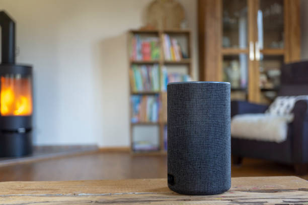 voice controlled smart speaker voice controlled smart speaker smart speaker stock pictures, royalty-free photos & images