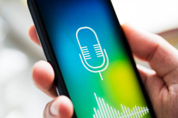 Voice mail app on mobile phone screen stock photo