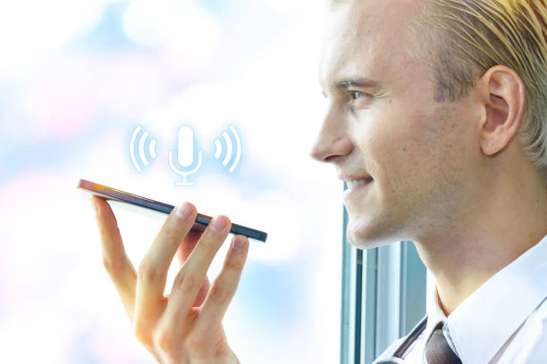 Voice recognition biometric , speech detect in healthcare technology concept. Doctor talk to smartphone for order command in hospital and microphone icon. stock photo