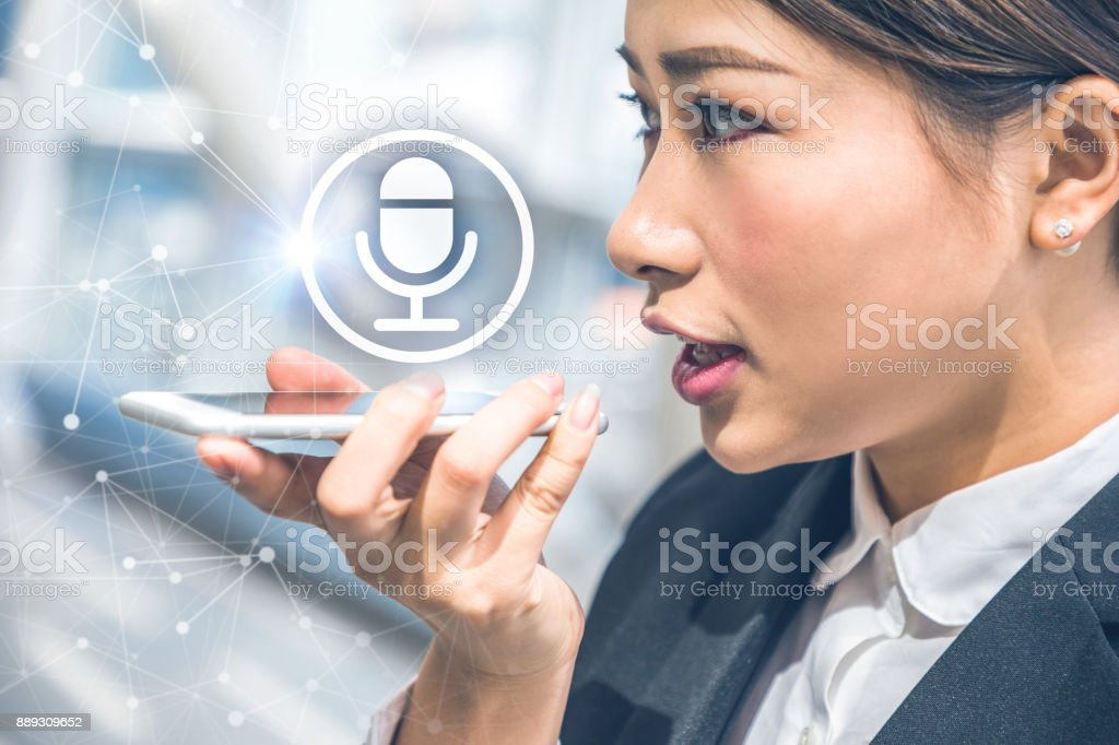 Voice recognition concept. stock photo