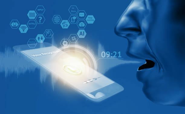 Voice recognition , speech detect and deep learning , chatbot technology concept. 3d rendering of man speak , application on mobile phone screen. stock photo