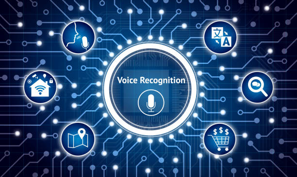 Voice recognition , speech talk concept. Electric circuit graphic and infographic of navigation ,ecommerce , sound search ,smart home control , translate language icons stock photo