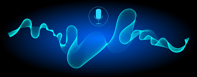 voice Recognition with a microphone and glossy blue soundwaves – illustration