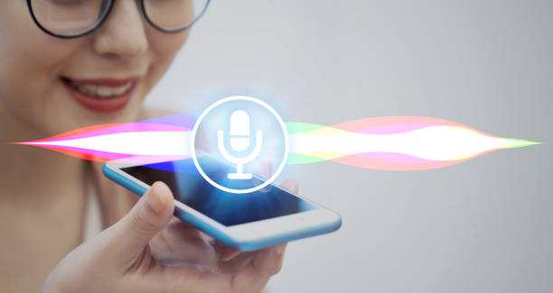 Voice recognition with smart phone. stock photo