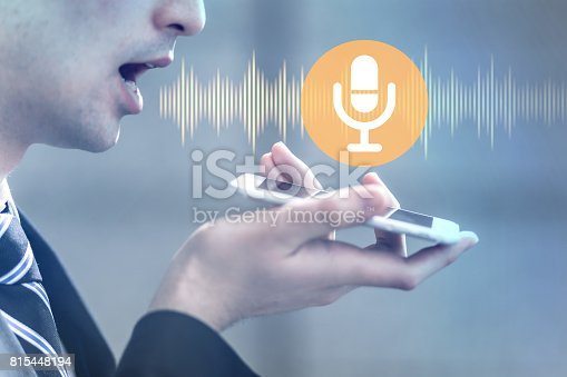 istock voice recognition with smart phone 815448194