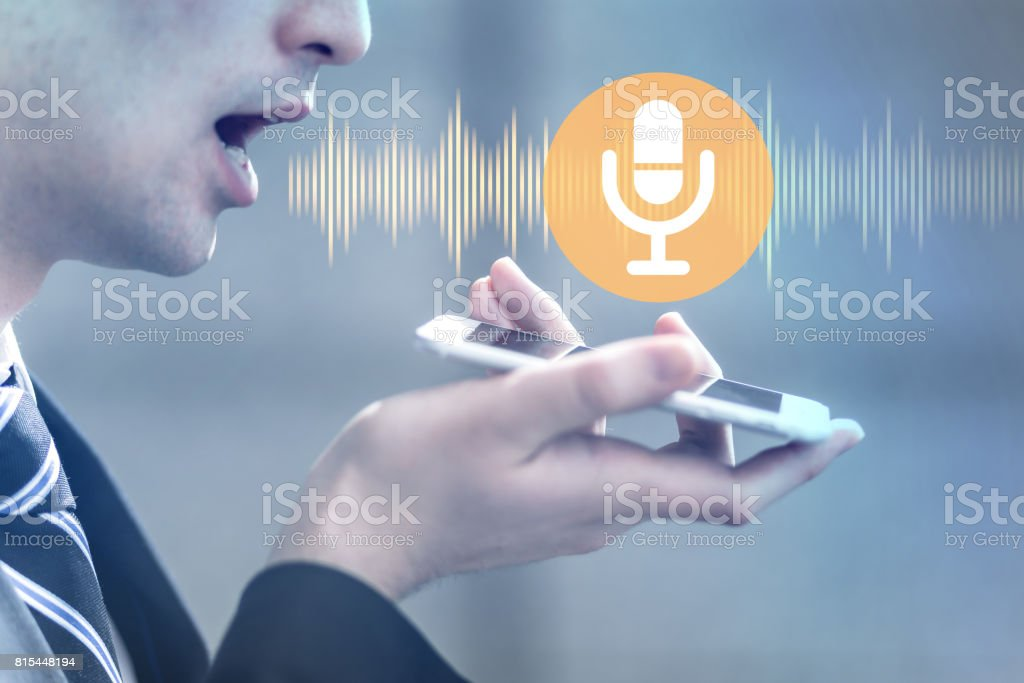 voice recognition with smart phone stock photo