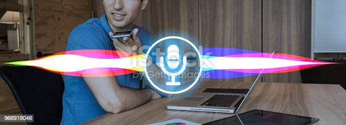 istock Voice recognition with smart phone. 966919046