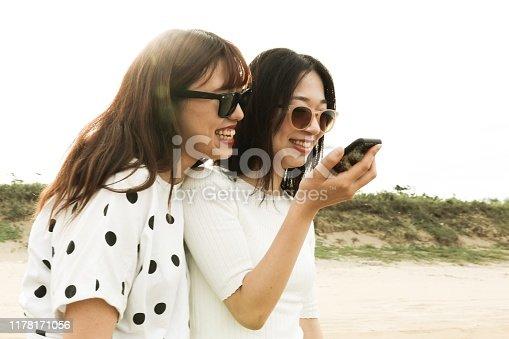 istock Voice recognituon with phone 1178171056
