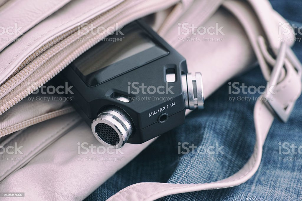 Voice recorder in a bag stock photo