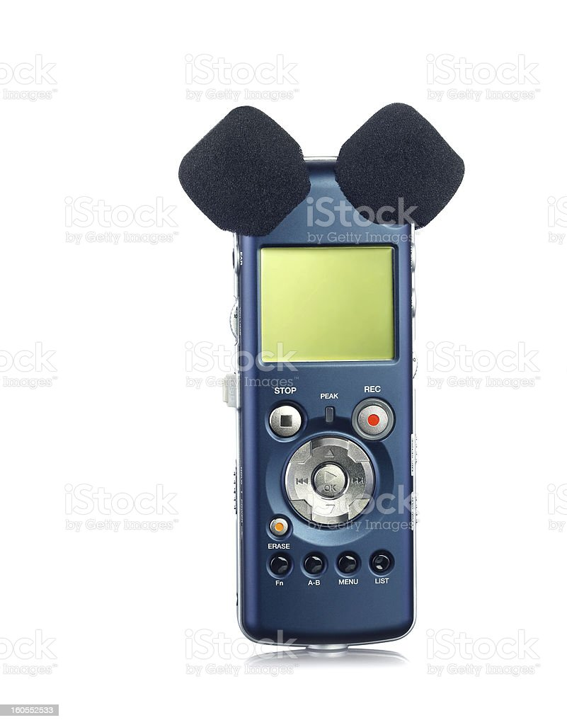 Voice Recorder with two microphones on white stock photo