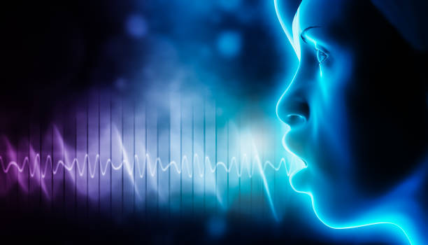 Voice soundwave with human head profile representing someone speaking or singing. 3d rendering illustration with copy space. Sound and music graphic concepts. stock photo