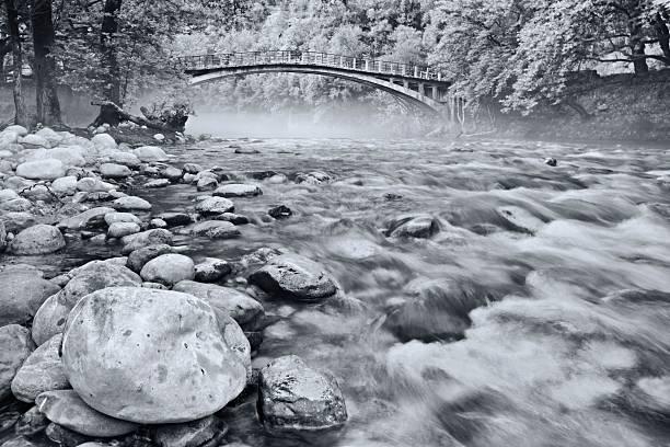 Voidomatis river at the Papigo bridge stock photo