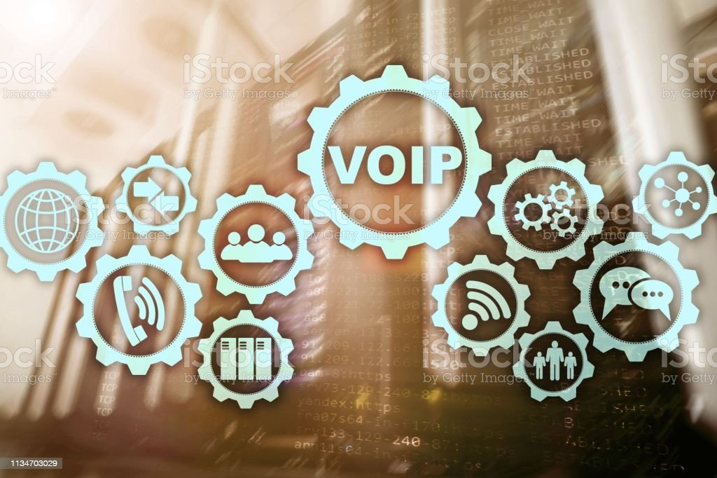 VoIP Voice over IP on the screen with a blur background of the server...