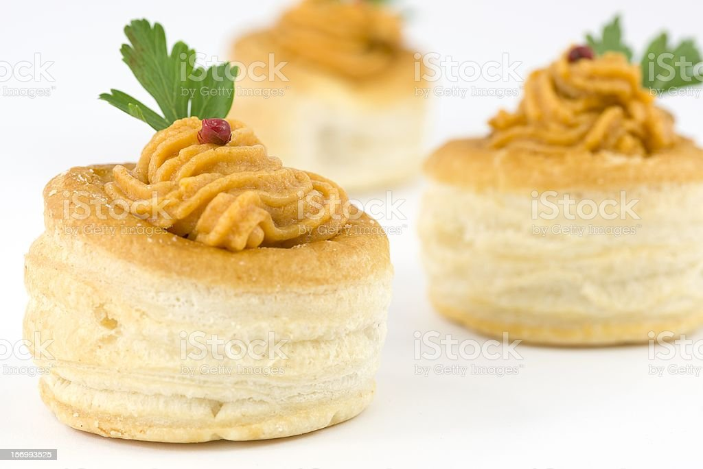 vol au vent with salmon and red pepper sauce royalty-free stock photo